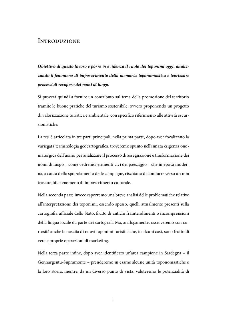 Anteprima della tesi: Il ruolo dei nomi di luogo nel processo di valorizzazione turistica, Pagina 2
