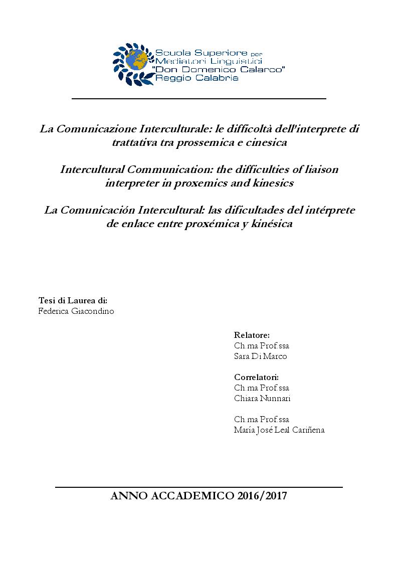 Anteprima della tesi: La Comunicazione Interculturale: le difficoltà dell'interprete di trattativa tra prossemica e cinesica, Pagina 1