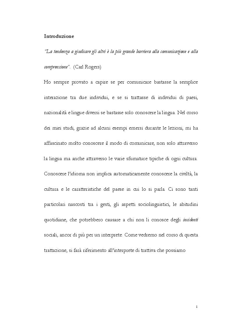 Anteprima della tesi: La Comunicazione Interculturale: le difficoltà dell'interprete di trattativa tra prossemica e cinesica, Pagina 2