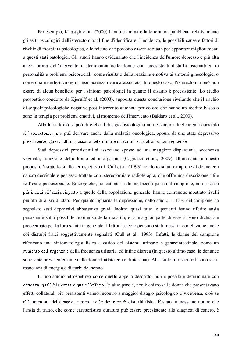 Anteprima della tesi: Isterectomia, ovariectomia e mastectomia: conseguenze psicologiche, sessuali, sociali e strategie d'intervento, Pagina 6