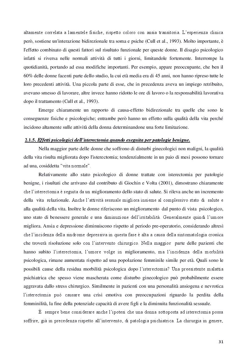Anteprima della tesi: Isterectomia, ovariectomia e mastectomia: conseguenze psicologiche, sessuali, sociali e strategie d'intervento, Pagina 7