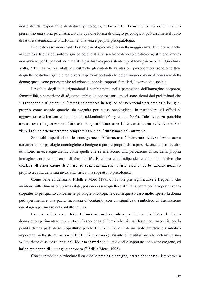 Anteprima della tesi: Isterectomia, ovariectomia e mastectomia: conseguenze psicologiche, sessuali, sociali e strategie d'intervento, Pagina 8