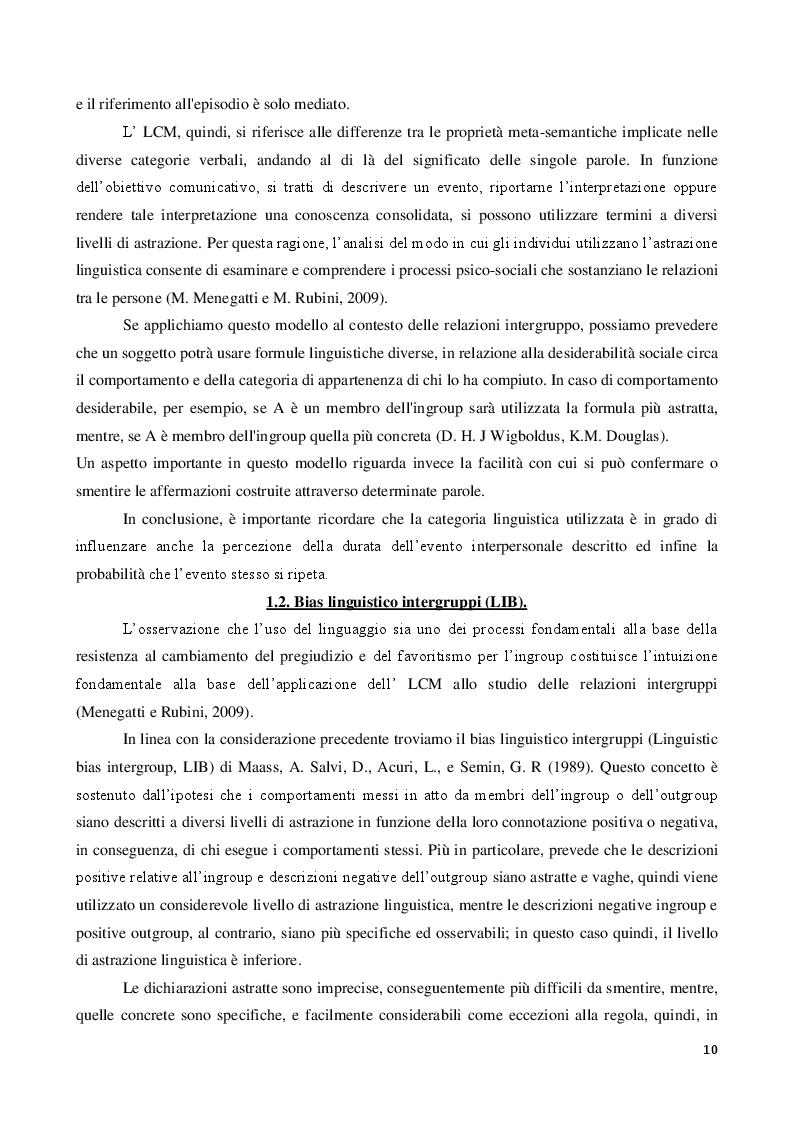 Estratto dalla tesi: La discriminazione linguistica nelle relazioni intergruppi