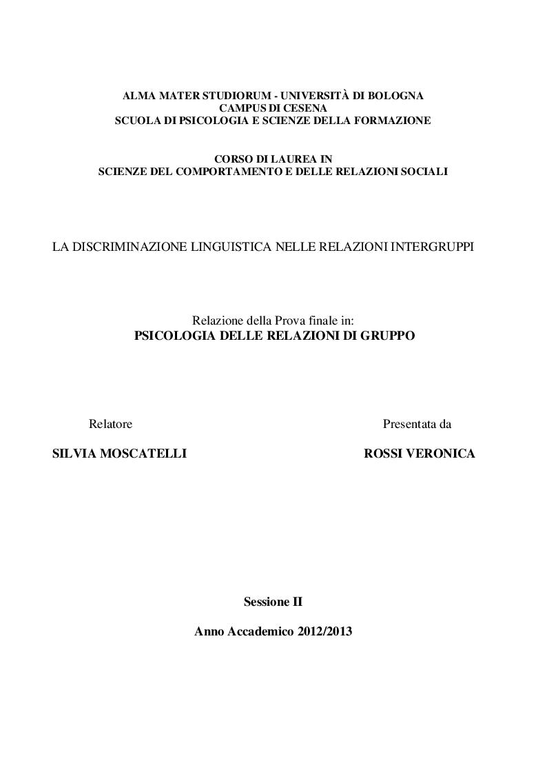 Anteprima della tesi: La discriminazione linguistica nelle relazioni intergruppi, Pagina 1