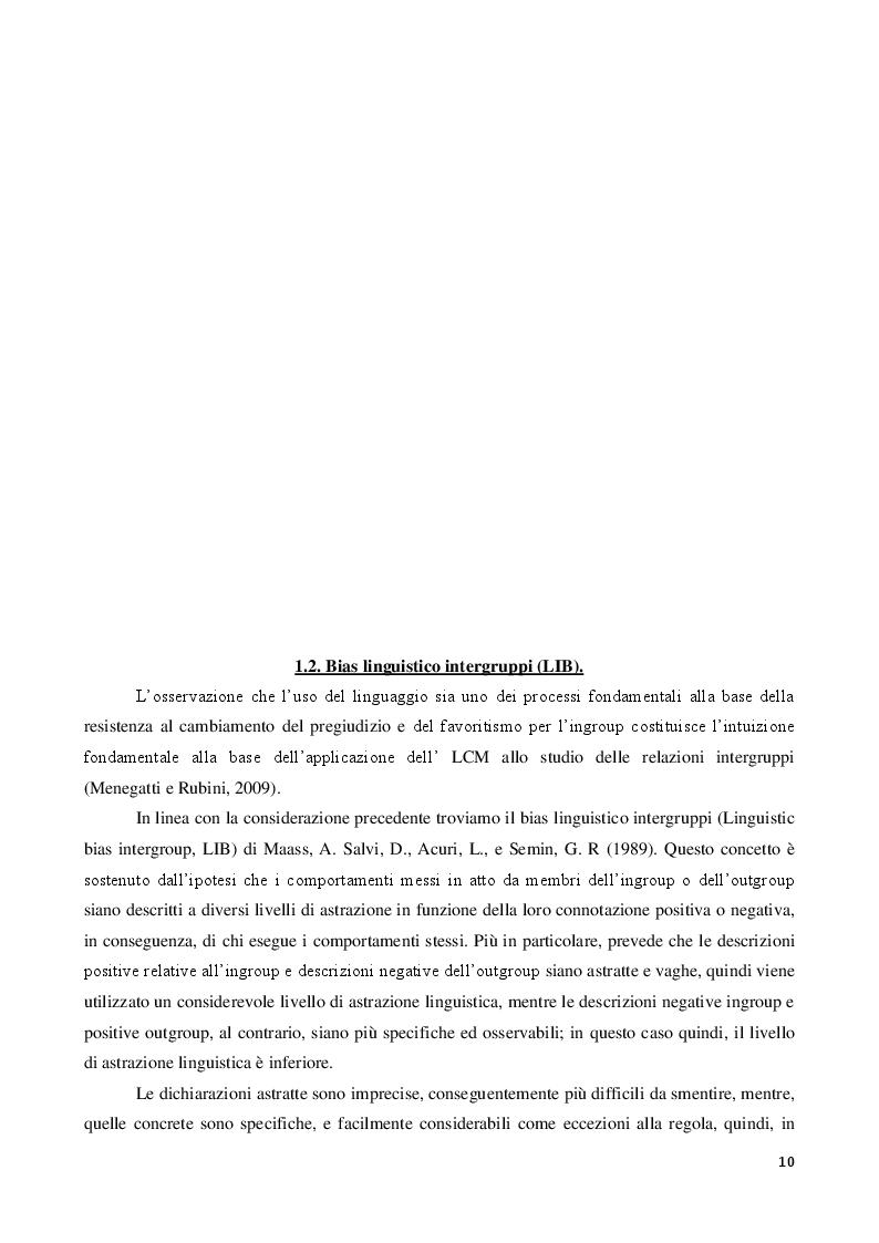 Anteprima della tesi: La discriminazione linguistica nelle relazioni intergruppi, Pagina 2