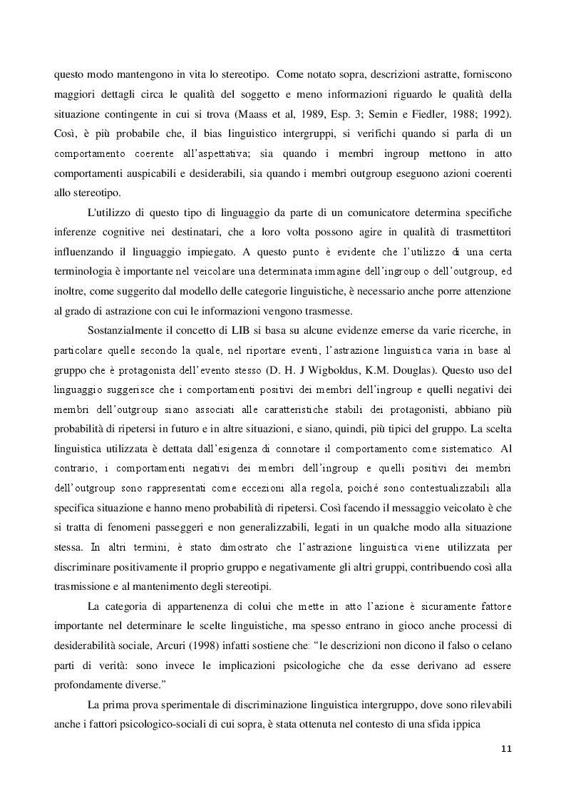 Anteprima della tesi: La discriminazione linguistica nelle relazioni intergruppi, Pagina 3