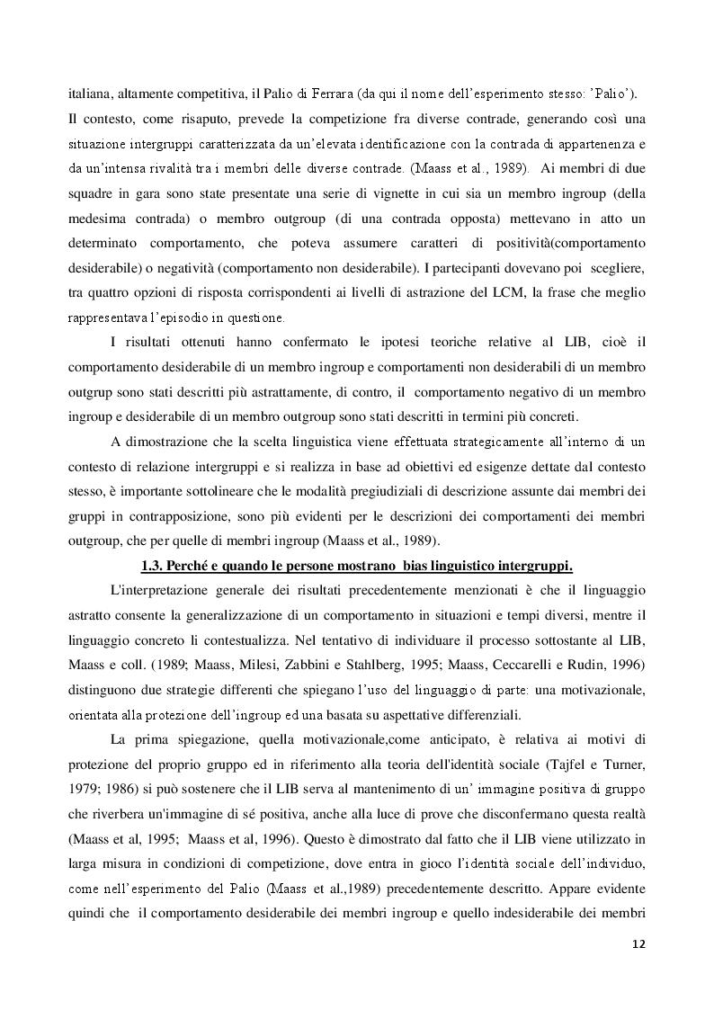 Anteprima della tesi: La discriminazione linguistica nelle relazioni intergruppi, Pagina 4