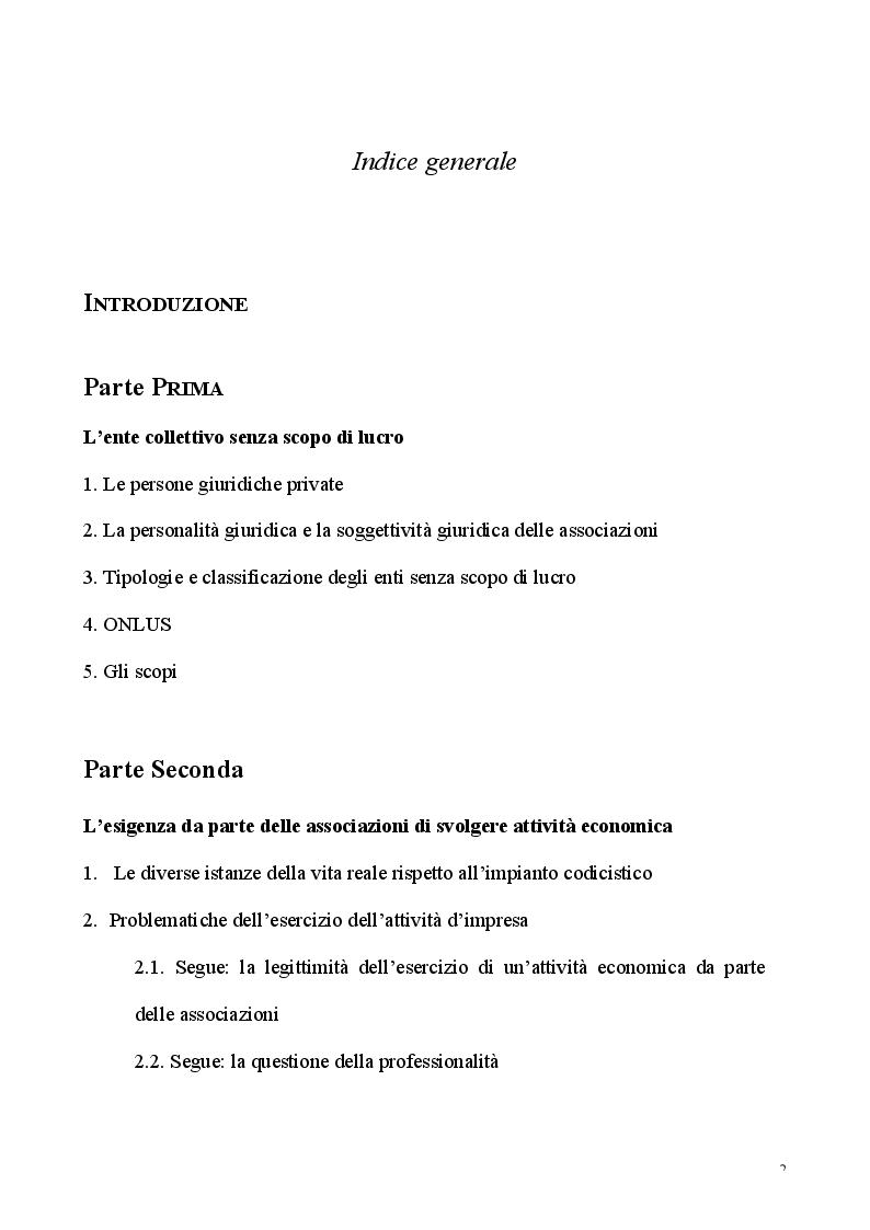 Indice della tesi: L'esercizio dell'attività d'impresa da parte delle Associazioni e delle Fondazioni, Pagina 1