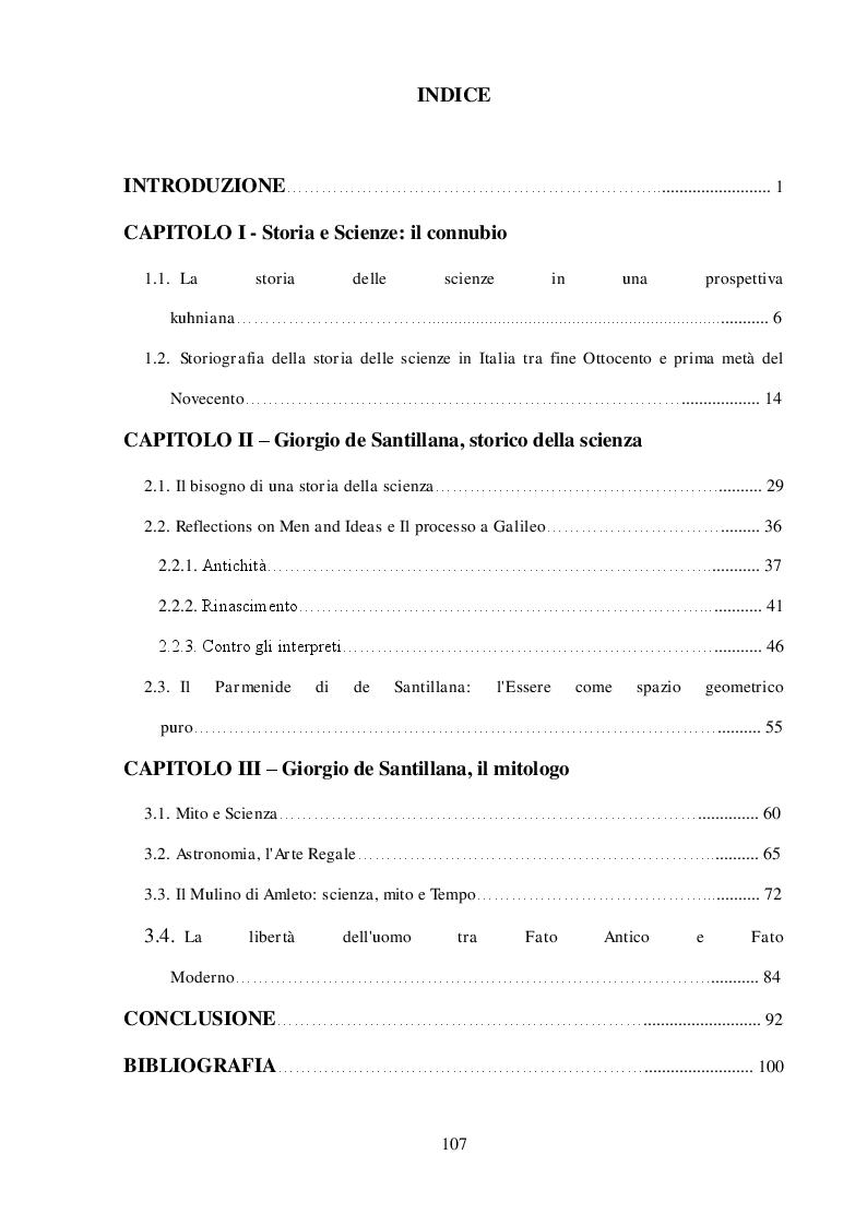 Indice della tesi: ''Arte della Fuga'': Scienza e Mito in Giorgio de Santillana, Pagina 1