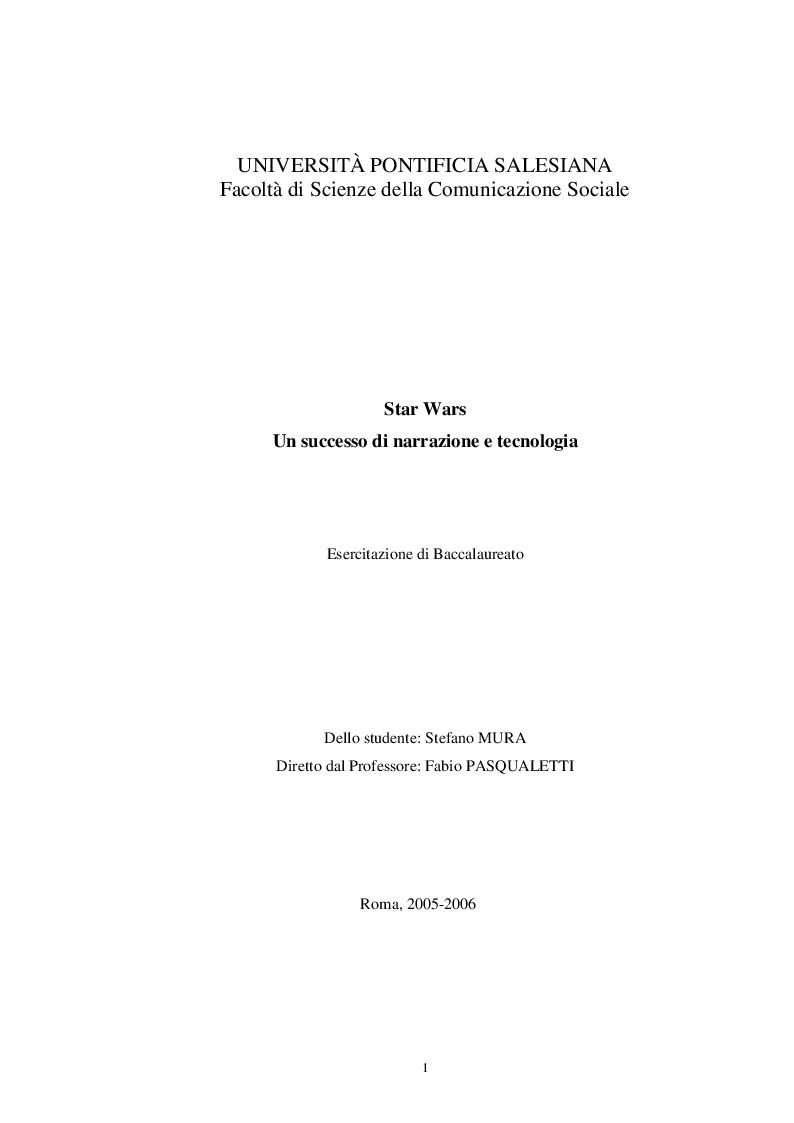 Anteprima della tesi: Star Wars, un successo di narrazione e tecnologia, Pagina 1
