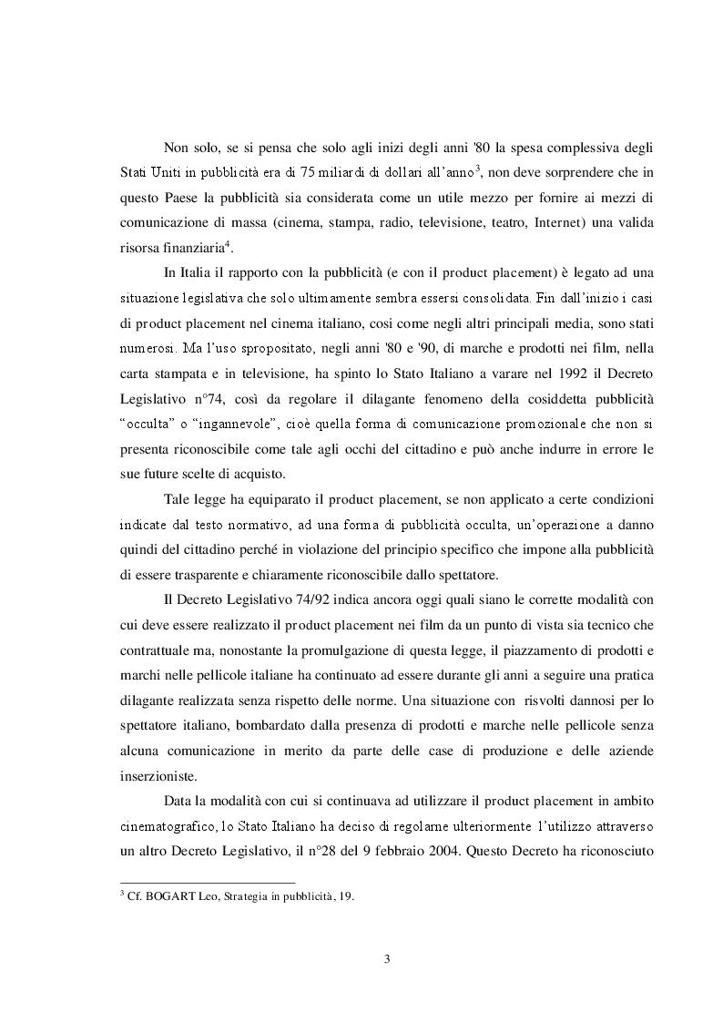 Anteprima della tesi: Pubblicità e cinema: storia del product placement tra esigenze di mercato, interessi dei produttori e diritti degli spettatori. Il caso controverso di Caos Calmo, Pagina 3