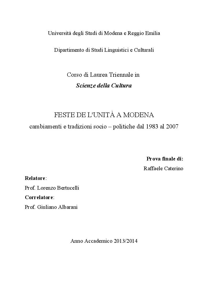 Anteprima della tesi: Feste de l'Unità a Modena. Cambiamenti e tradizioni socio – politiche dal 1983 al 2007, Pagina 1