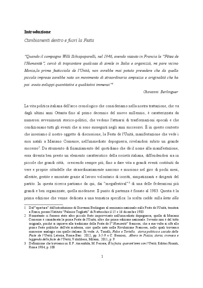 Anteprima della tesi: Feste de l'Unità a Modena. Cambiamenti e tradizioni socio – politiche dal 1983 al 2007, Pagina 2