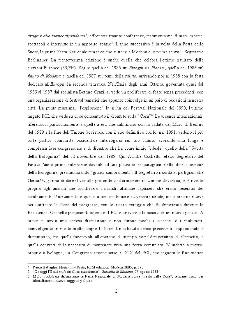 Anteprima della tesi: Feste de l'Unità a Modena. Cambiamenti e tradizioni socio – politiche dal 1983 al 2007, Pagina 3