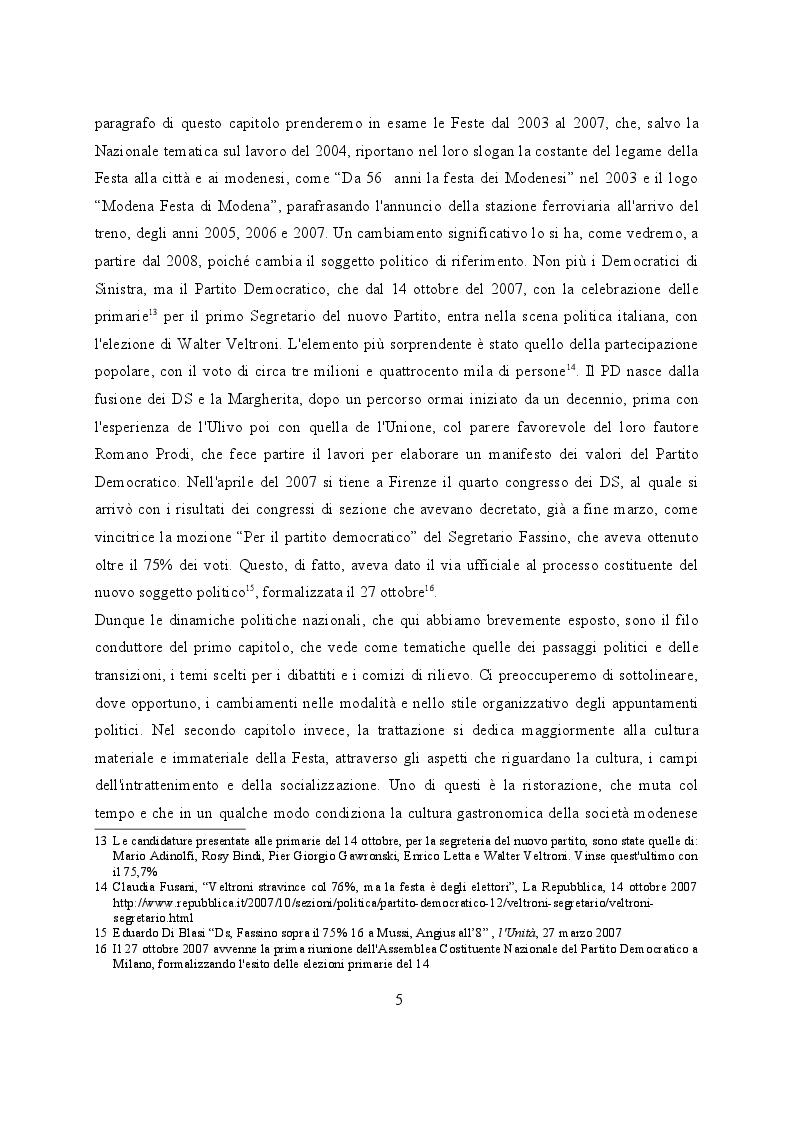 Anteprima della tesi: Feste de l'Unità a Modena. Cambiamenti e tradizioni socio – politiche dal 1983 al 2007, Pagina 6