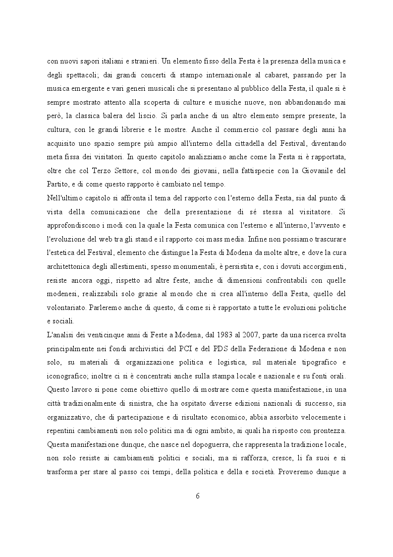 Anteprima della tesi: Feste de l'Unità a Modena. Cambiamenti e tradizioni socio – politiche dal 1983 al 2007, Pagina 7