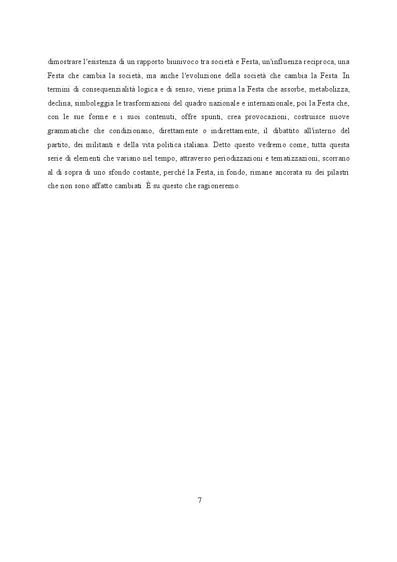 Anteprima della tesi: Feste de l'Unità a Modena. Cambiamenti e tradizioni socio – politiche dal 1983 al 2007, Pagina 8