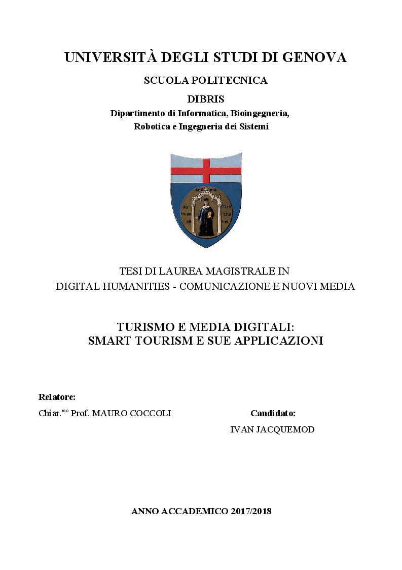 Anteprima della tesi: Turismo e media digitali: Smart tourism e sue applicazioni, Pagina 1