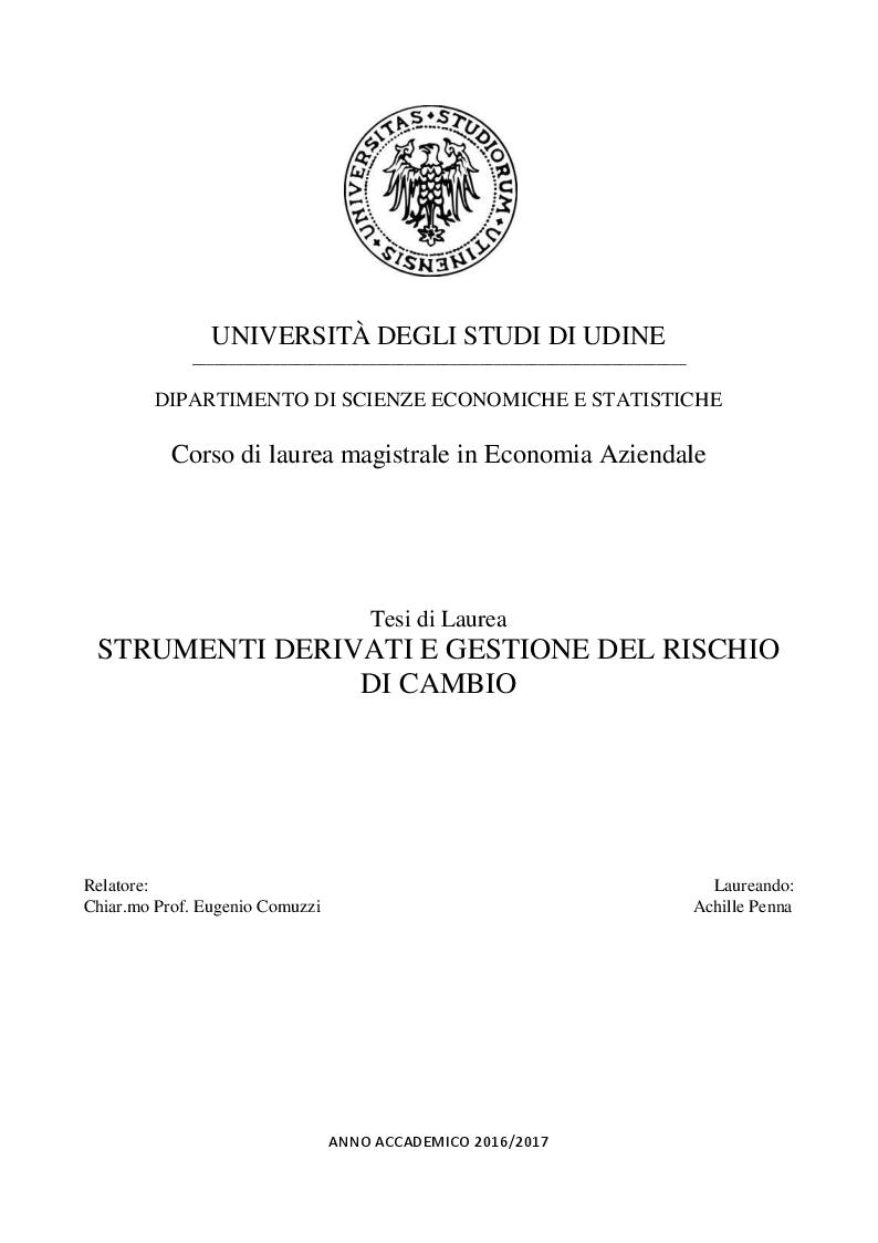 Anteprima della tesi: Strumenti derivati e gestione del rischio di cambio, Pagina 1