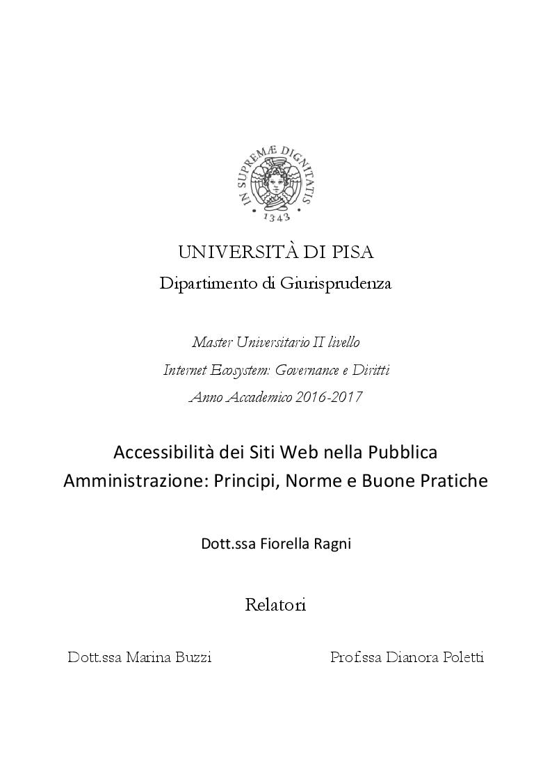 Anteprima della tesi: Accessibilità dei Siti Web nella Pubblica Amministrazione: Principi, Norme e Buone Pratiche, Pagina 1