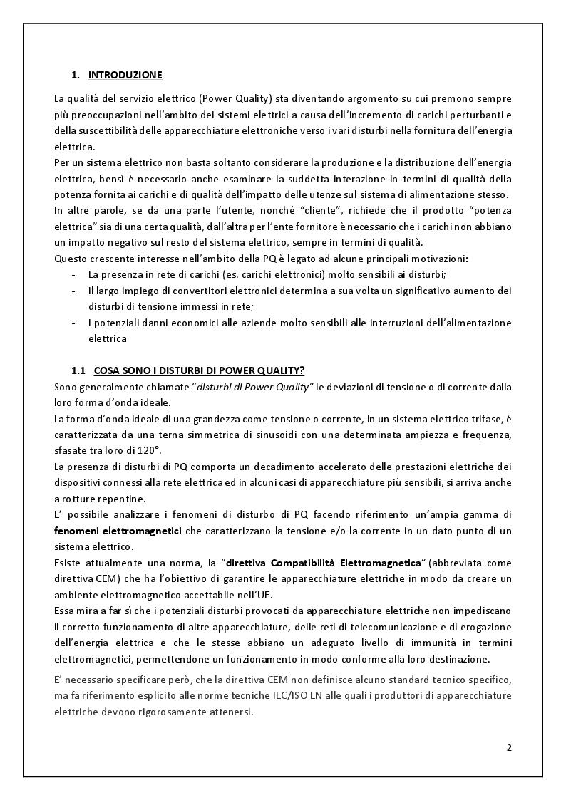 Anteprima della tesi: Buchi di Tensione - Caratterizzazione dei buchi di tensione, analisi e valutazione dei dati relativi a questi disturbi di Power Quality estrapolati dal sito QuEEN, Pagina 2