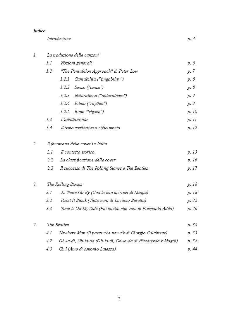 Indice della tesi: Traduzione e musica: il caso Rolling Stones e Beatles, Pagina 1