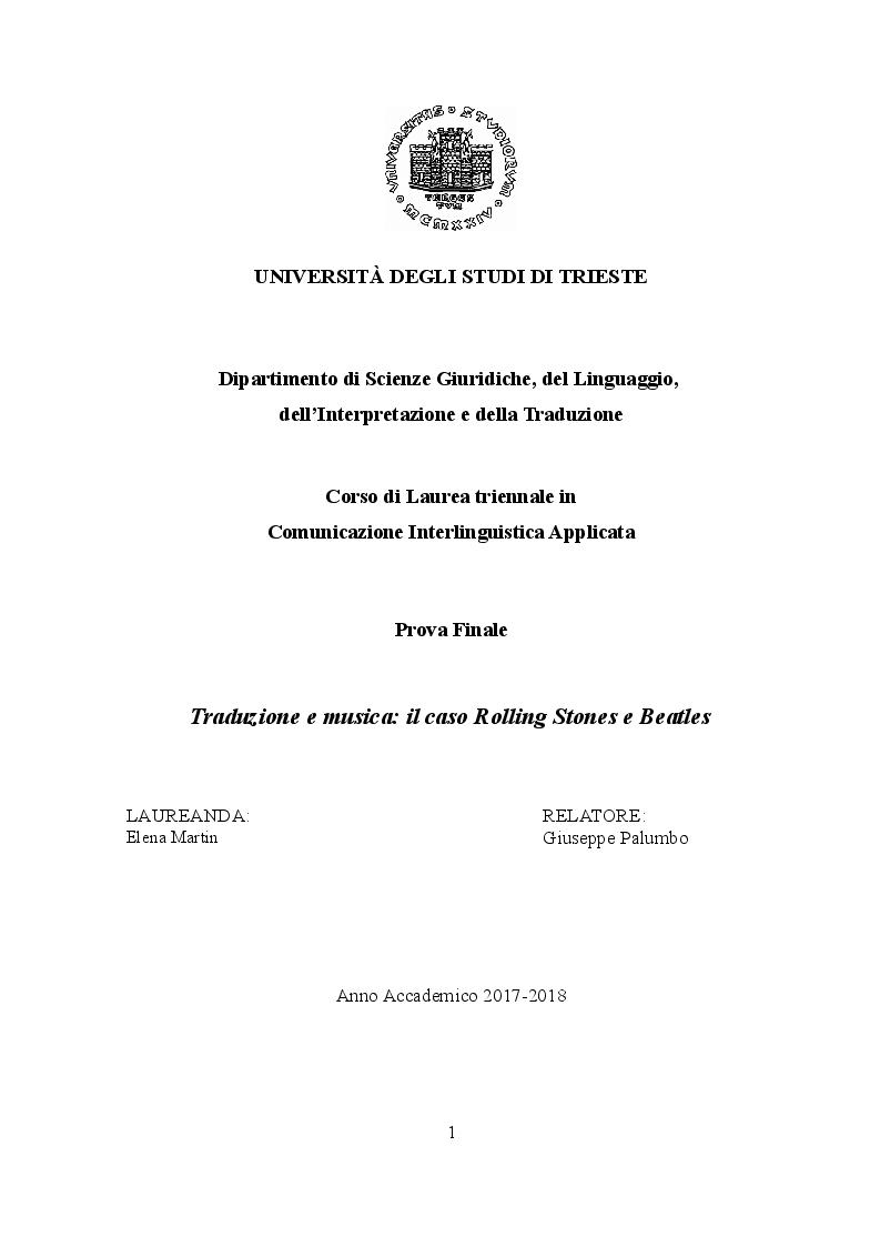 Anteprima della tesi: Traduzione e musica: il caso Rolling Stones e Beatles, Pagina 1