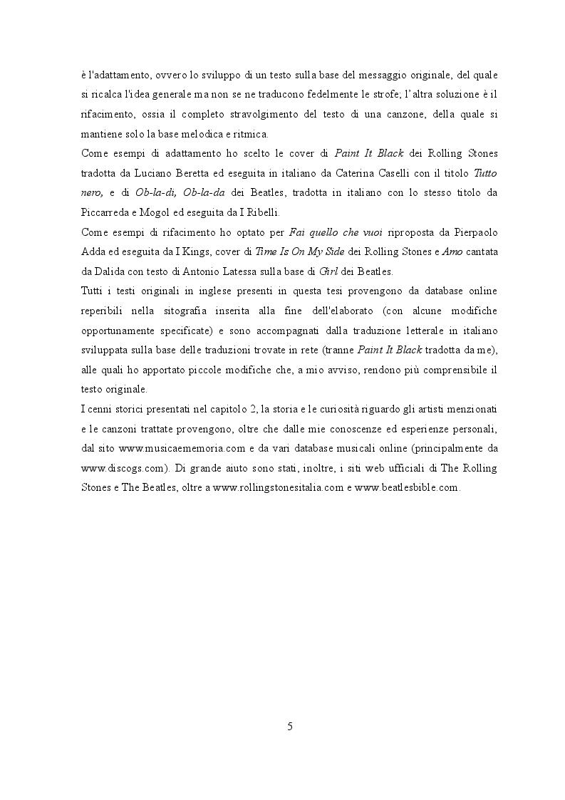 Anteprima della tesi: Traduzione e musica: il caso Rolling Stones e Beatles, Pagina 3
