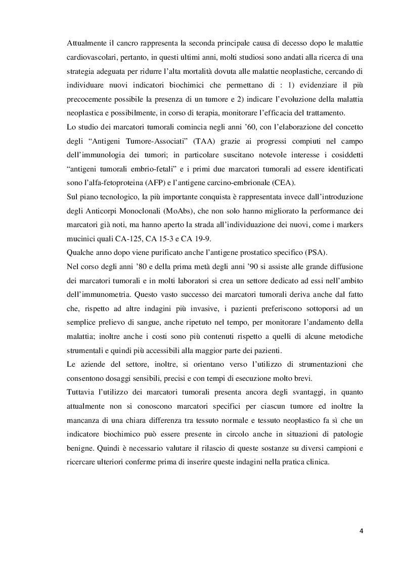 Anteprima della tesi: Valutazione e dosaggio immunometrico dei markers tumorali, Pagina 3