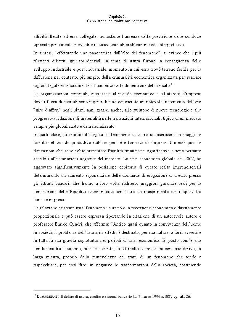 Anteprima della tesi: L'usura bancaria: la disciplina penalistica e i riflessi economici, Pagina 8