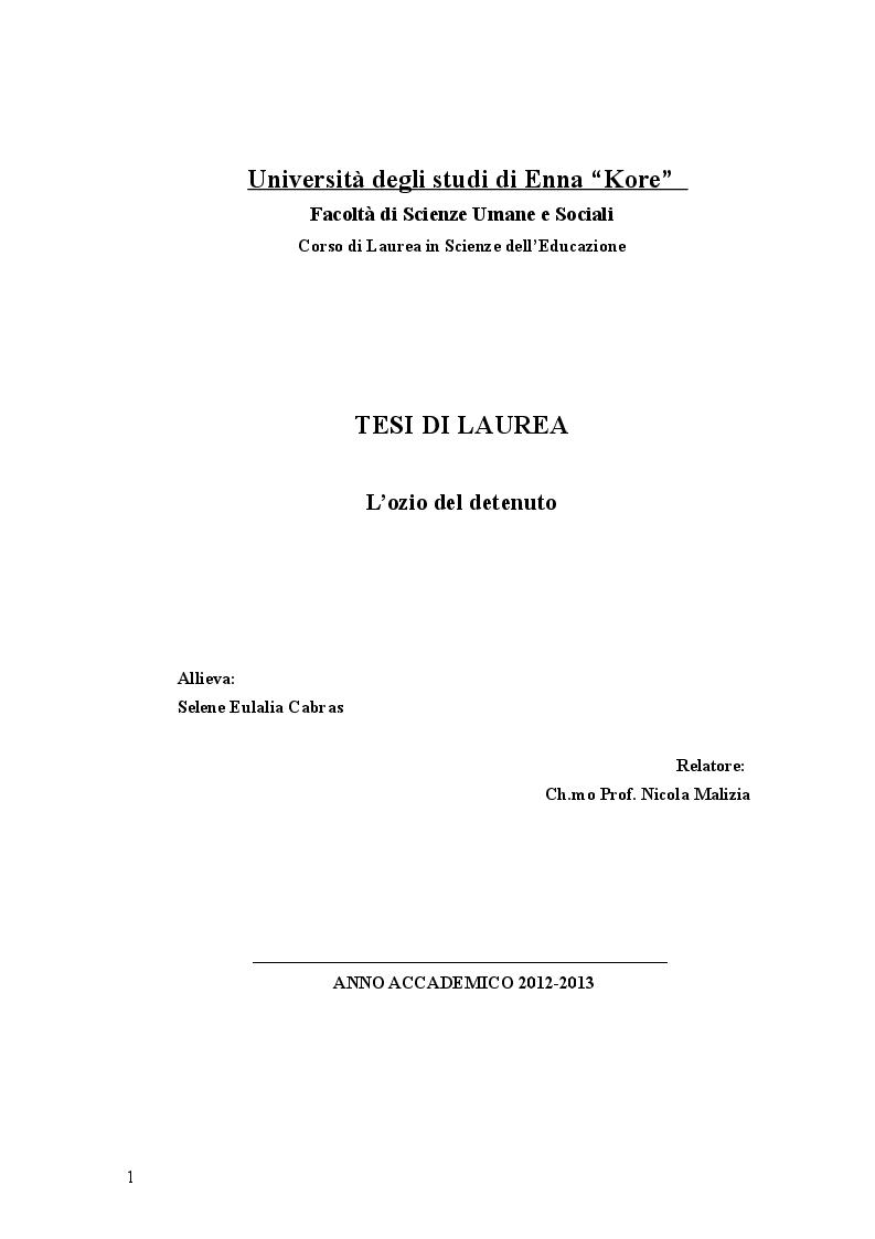 Anteprima della tesi: L'ozio del detenuto, Pagina 1