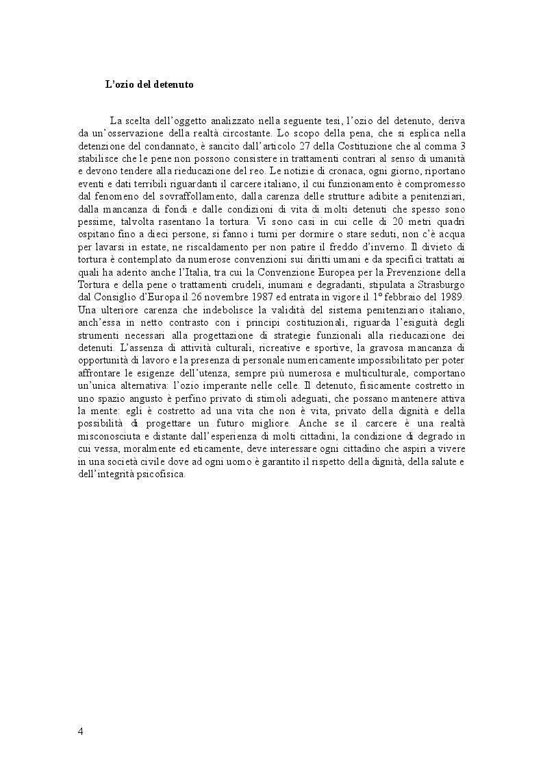 Anteprima della tesi: L'ozio del detenuto, Pagina 2