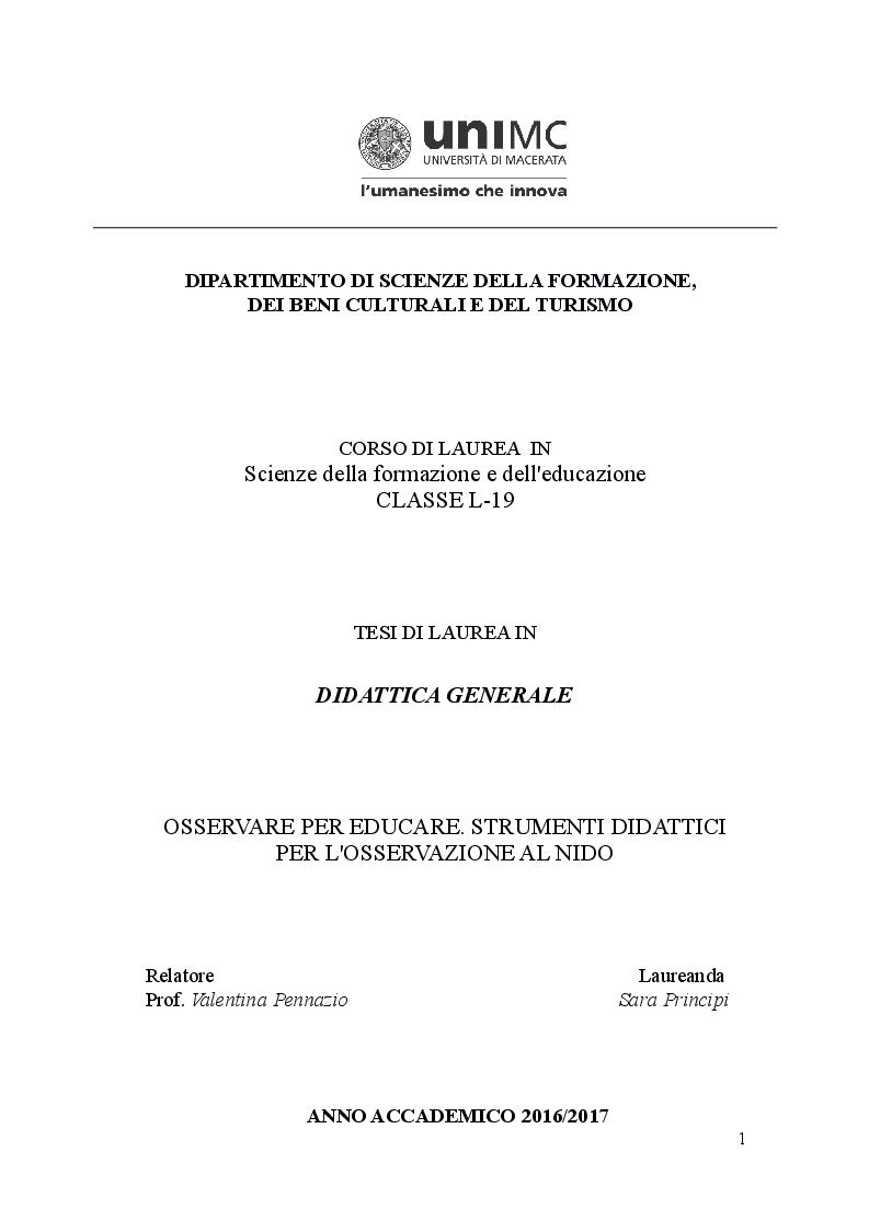 Anteprima della tesi: Osservare per educare. Strumenti didattici per l'osservazione al nido, Pagina 1