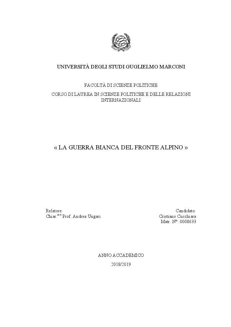 Anteprima della tesi: La guerra bianca del fronte alpino, Pagina 1