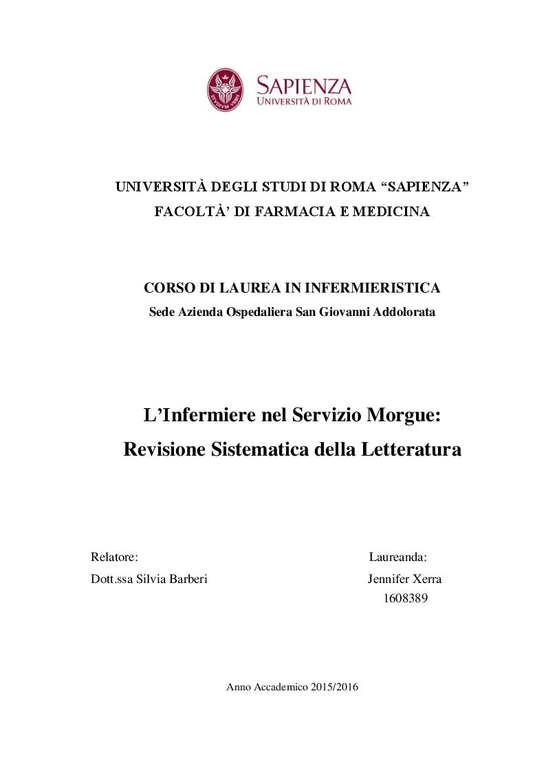 Anteprima della tesi: L'Infermiere nel Servizio Morgue: Revisione Sistematica della Letteratura, Pagina 1