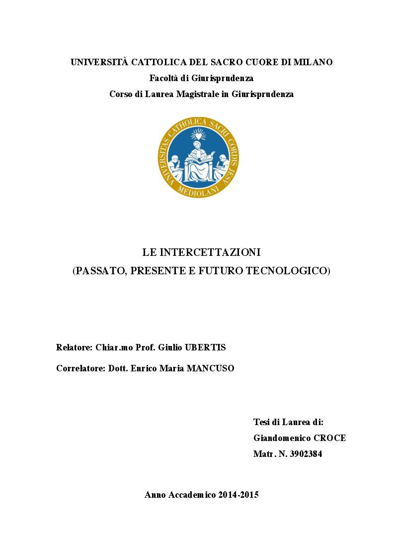 Anteprima della tesi: Le intercettazioni (passato, presente e futuro tecnologico), Pagina 1