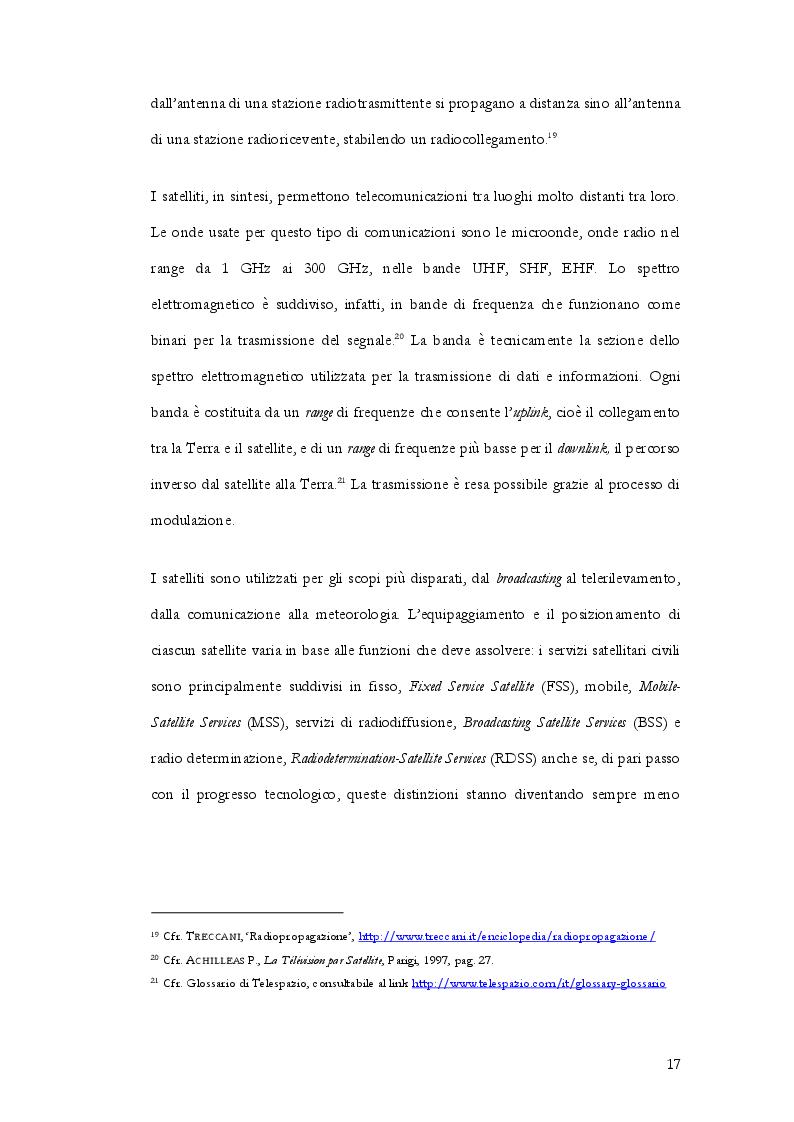 Anteprima della tesi: Radiocommunication satellite. La gestione delle frequenze contro il pericolo delle interferenze nocive nella normativa internazionale, europea e italiana, Pagina 8