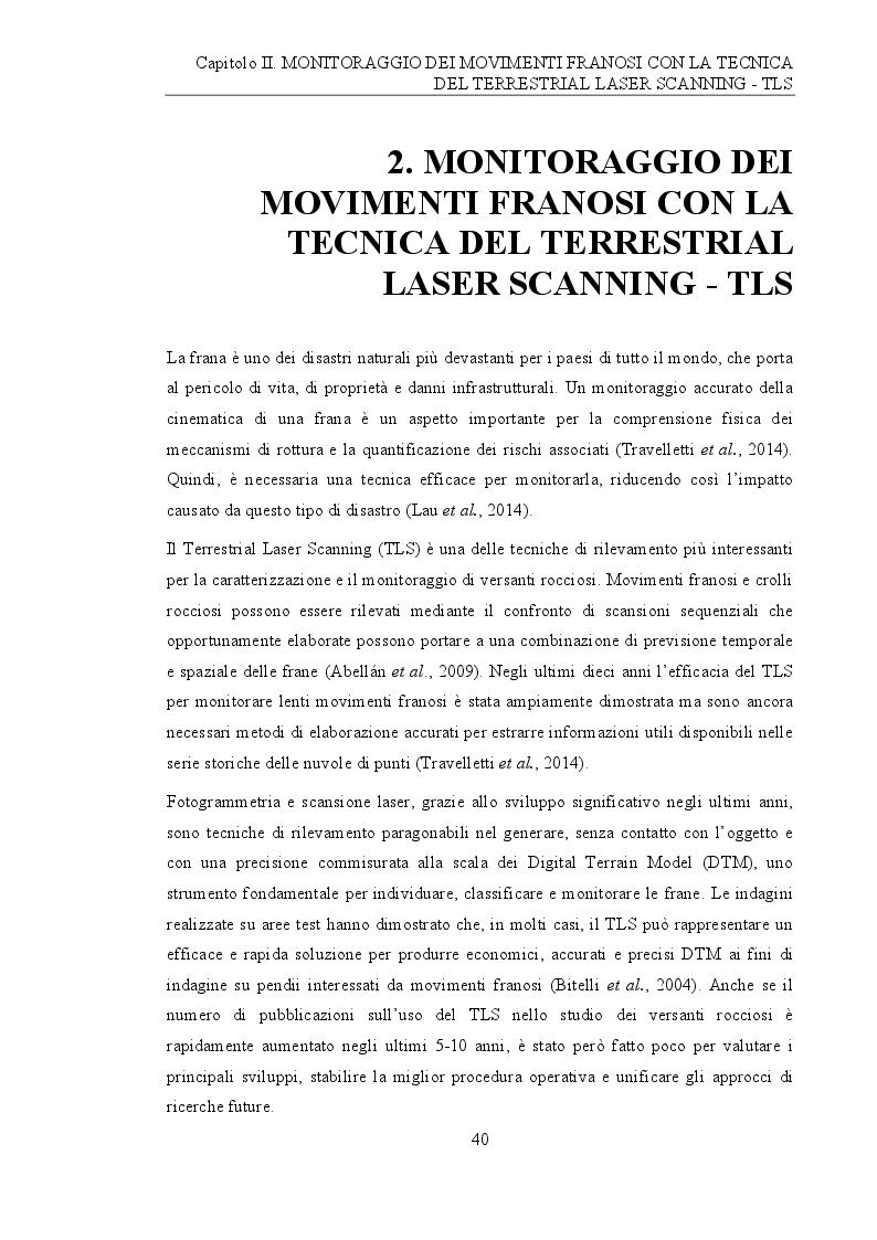 Anteprima della tesi: Analisi e monitoraggio di frane mediante misure laser scanner terrestre da lunga distanza, Pagina 2