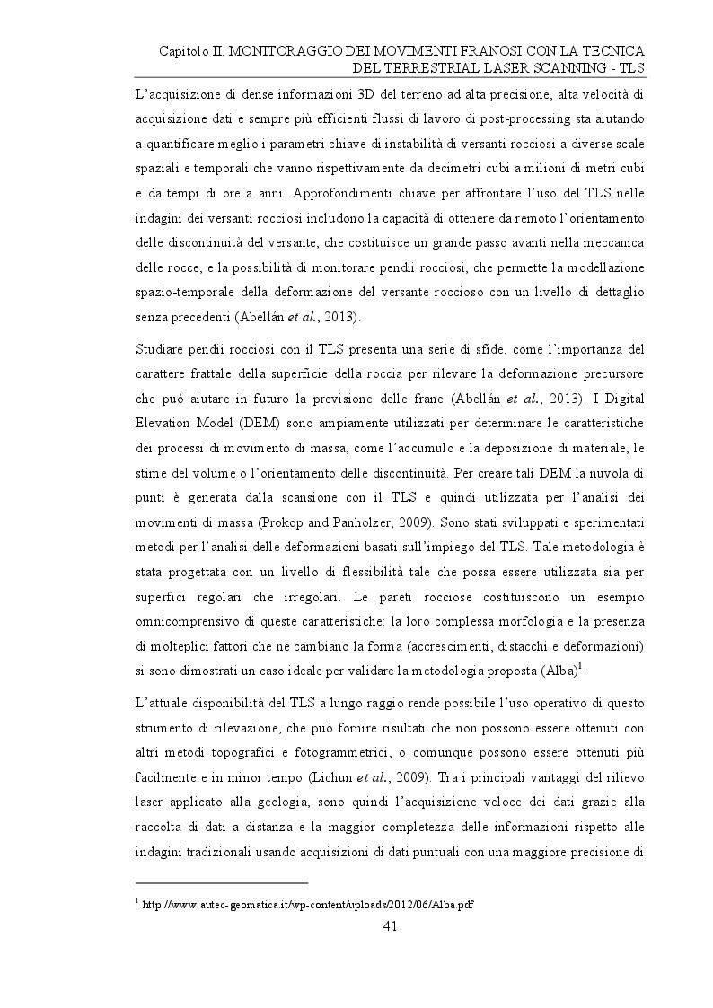Anteprima della tesi: Analisi e monitoraggio di frane mediante misure laser scanner terrestre da lunga distanza, Pagina 3