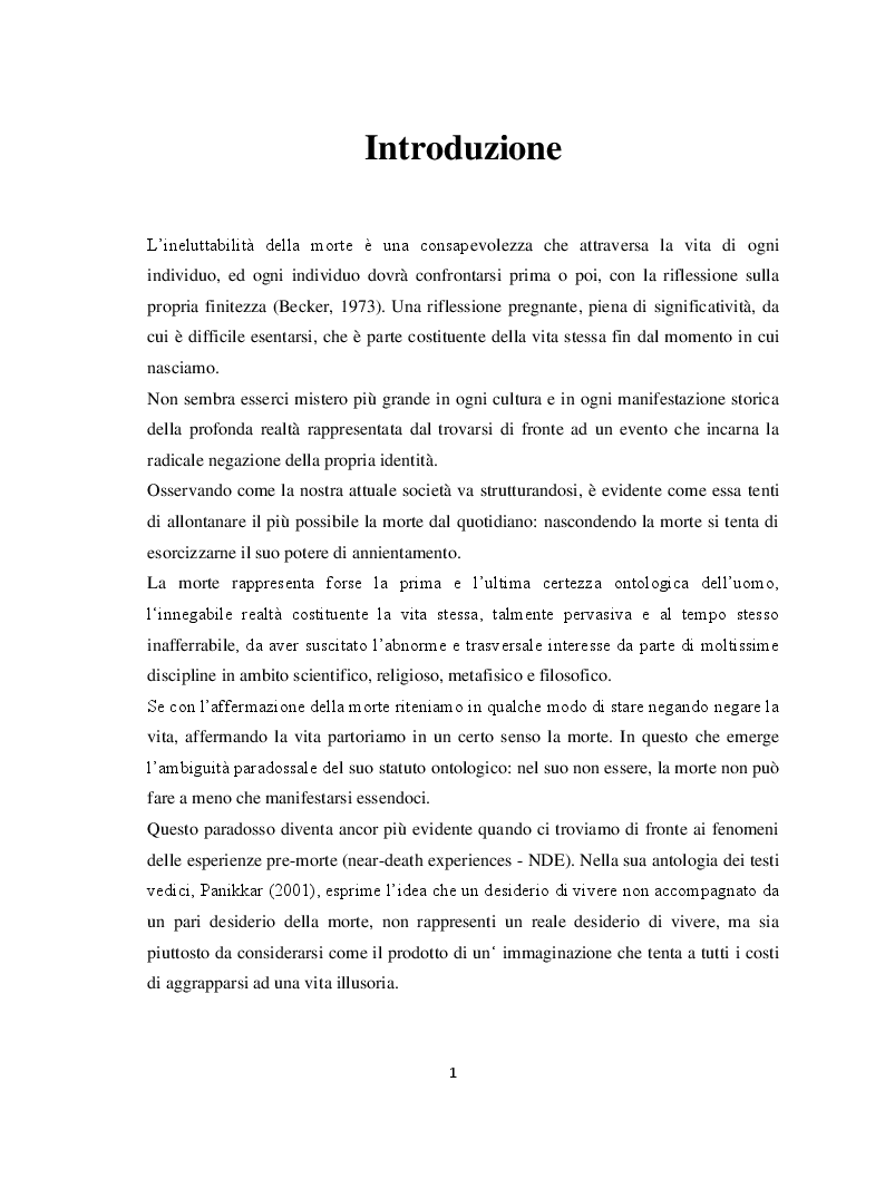 Anteprima della tesi: Il margine con la morte. Near-death experiences: prospettive a confronto, Pagina 2