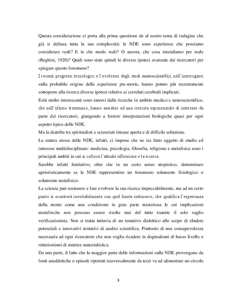 Anteprima della tesi: Il margine con la morte. Near-death experiences: prospettive a confronto, Pagina 4