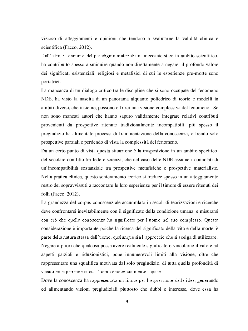Anteprima della tesi: Il margine con la morte. Near-death experiences: prospettive a confronto, Pagina 5