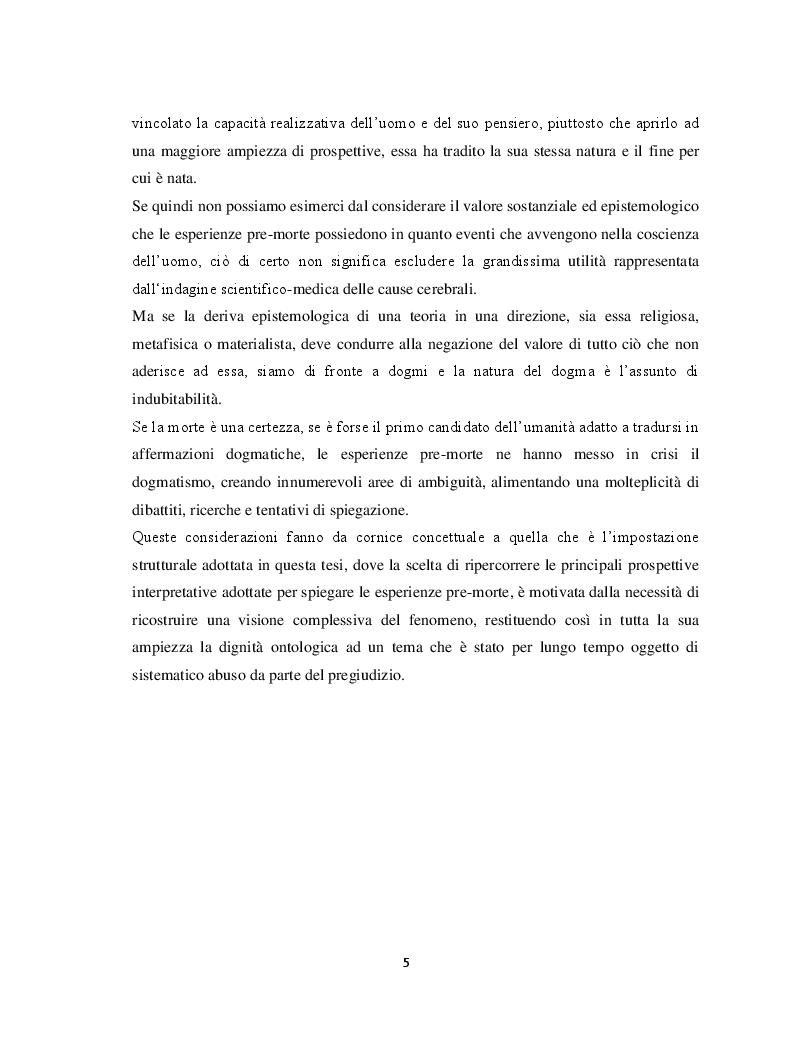 Anteprima della tesi: Il margine con la morte. Near-death experiences: prospettive a confronto, Pagina 6