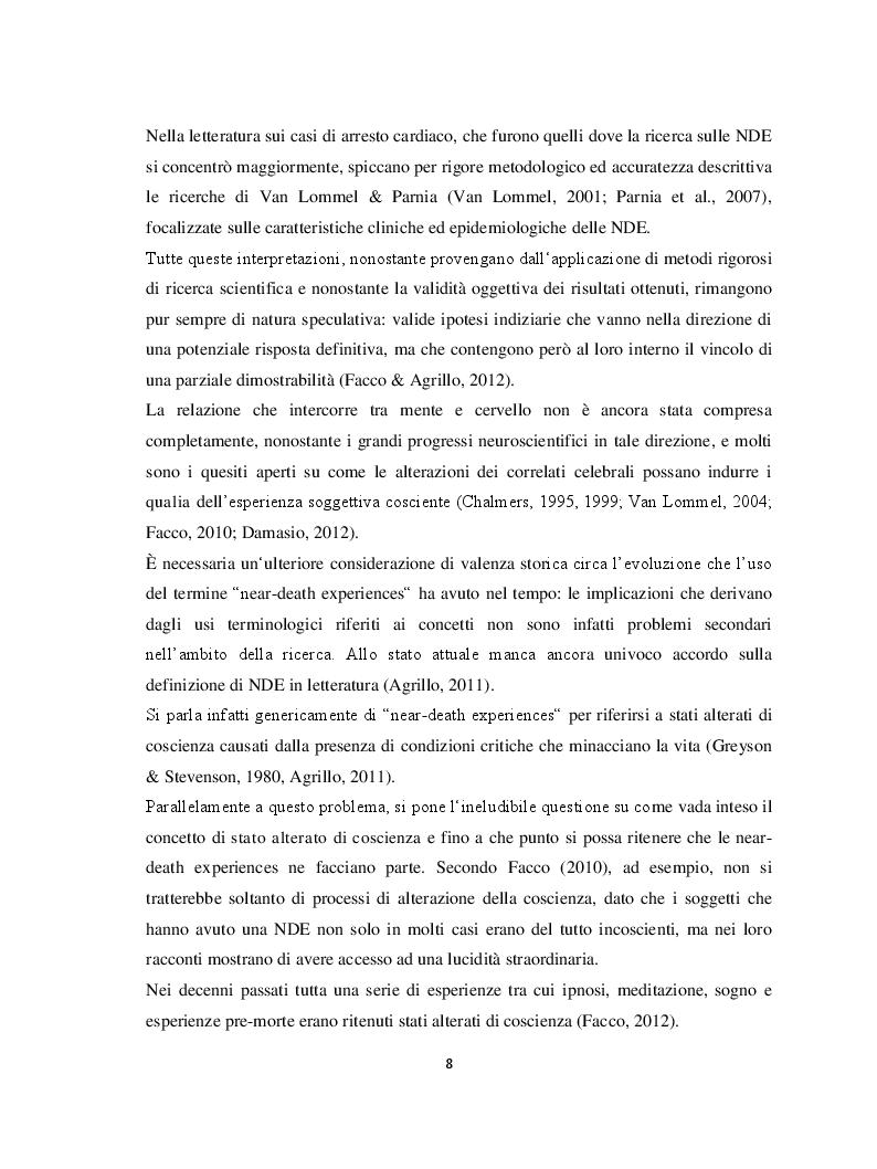 Anteprima della tesi: Il margine con la morte. Near-death experiences: prospettive a confronto, Pagina 9