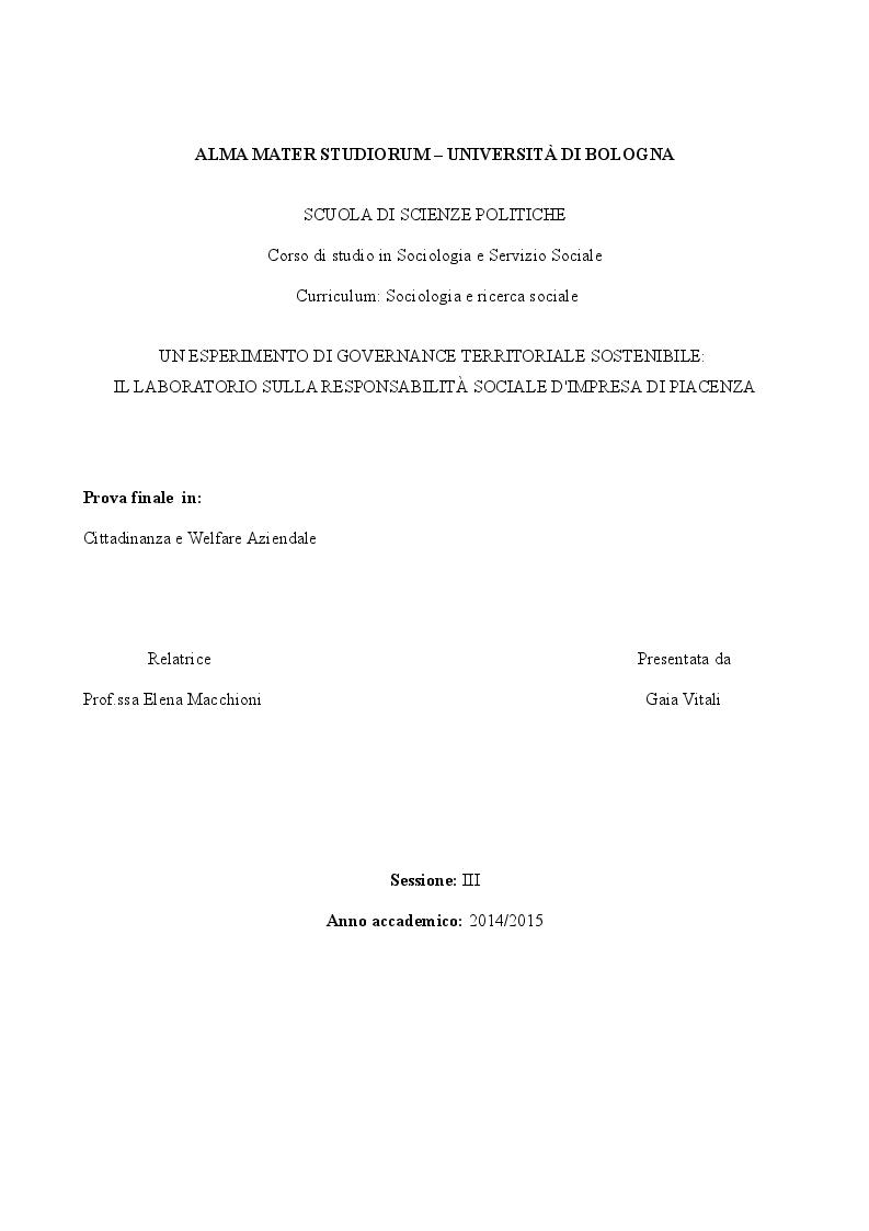 Anteprima della tesi: Un esperimento di Governance territoriale sostenibile: il laboratorio sulla responsabilità sociale d'impresa di Piacenza, Pagina 1