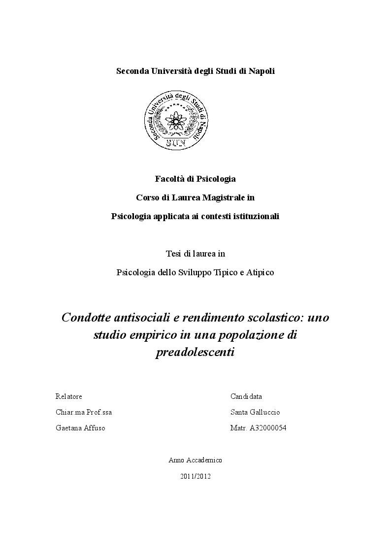 Anteprima della tesi: Condotte antisociali e rendimento scolastico: uno studio empirico in una popolazione di preadolescenti, Pagina 1