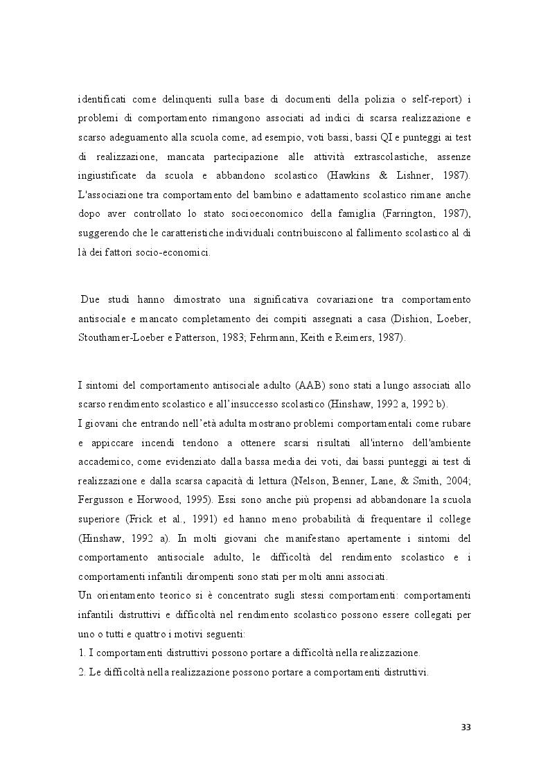 Anteprima della tesi: Condotte antisociali e rendimento scolastico: uno studio empirico in una popolazione di preadolescenti, Pagina 5