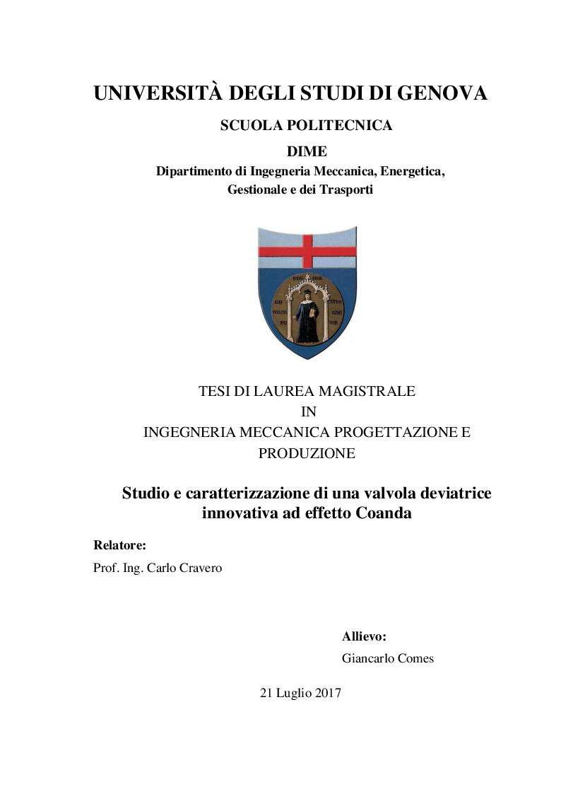 Anteprima della tesi: Studio e Caratterizzazione di una Valvola Deviatrice Innovativa ad effetto Coanda, Pagina 1