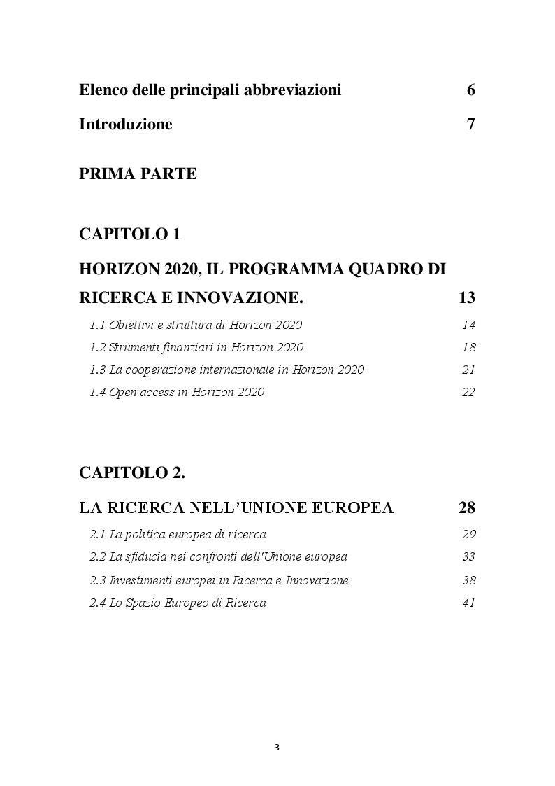 Indice della tesi: HORIZON 2020 – Il programma quadro per la ricerca e l'innovazione. La progettazione europea., Pagina 1