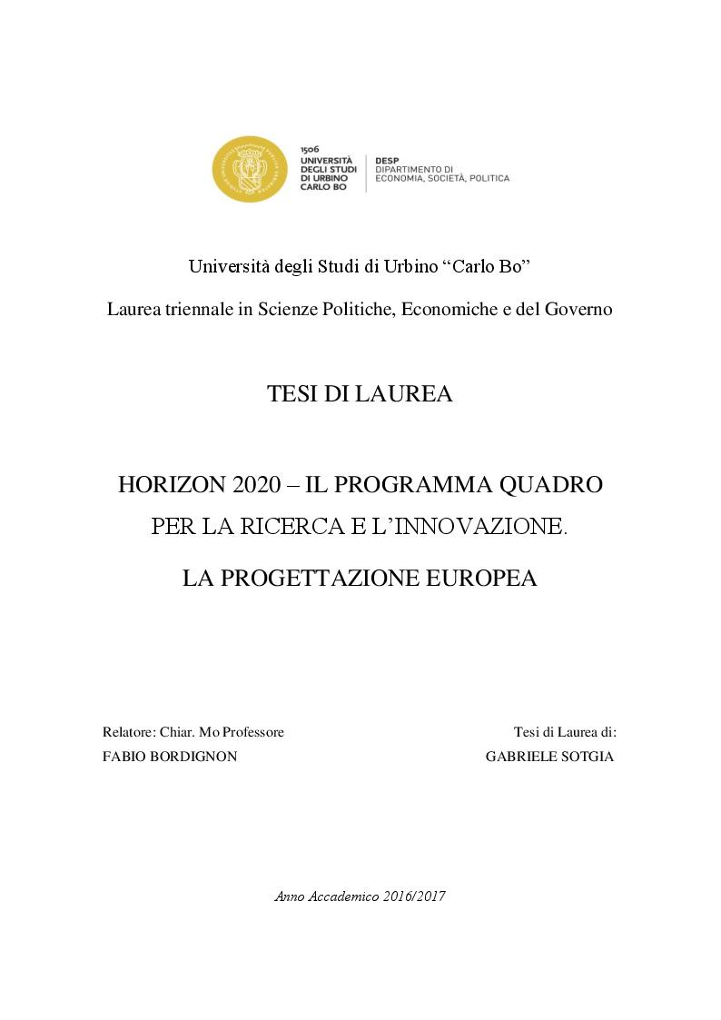 Anteprima della tesi: HORIZON 2020 – Il programma quadro per la ricerca e l'innovazione. La progettazione europea., Pagina 1